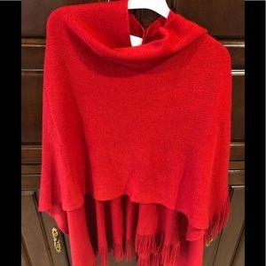 Worthington 100% acrylic wrap w/fringe red color